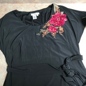 Coldwater Creek black dress with floral patch
